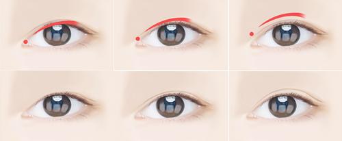 双眼皮卡通形象示意图